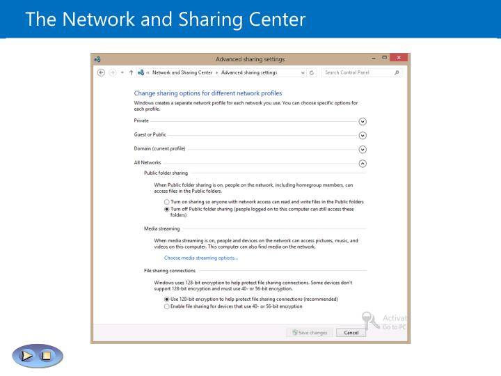 The Network and Sharing Center