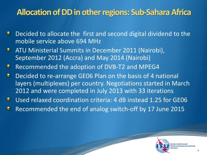 Allocation of DD in other regions: Sub-Sahara Africa