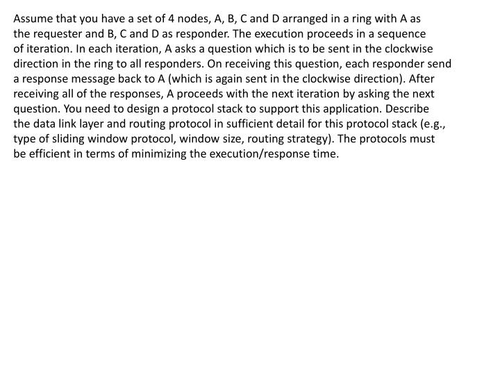 Assume that you have a set of 4 nodes, A, B, C and D arranged in a ring with A as