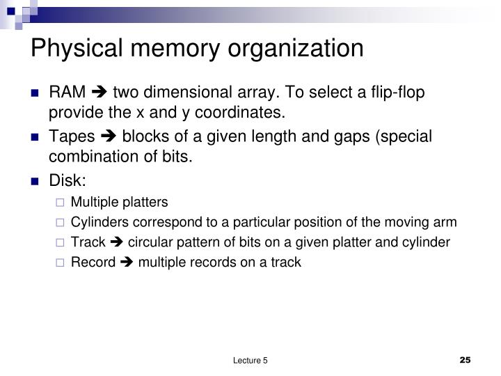 Physical memory organization