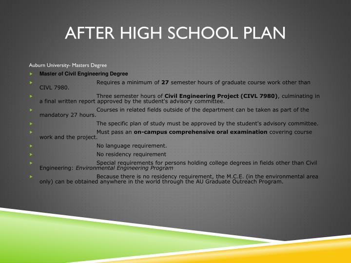 After high school plan