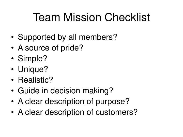 Team Mission Checklist
