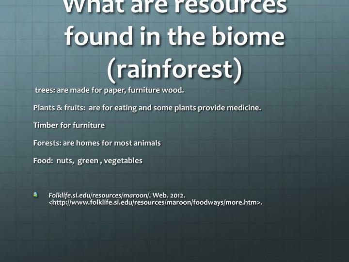 What are resources found in the biome (rainforest)