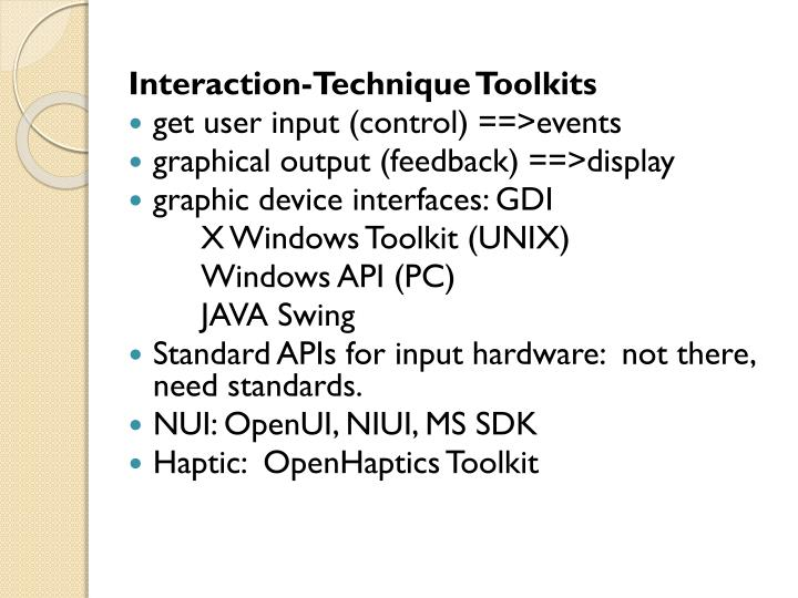 Interaction-Technique Toolkits