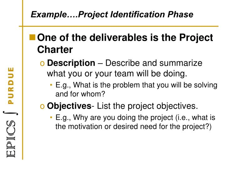 Example….Project Identification Phase