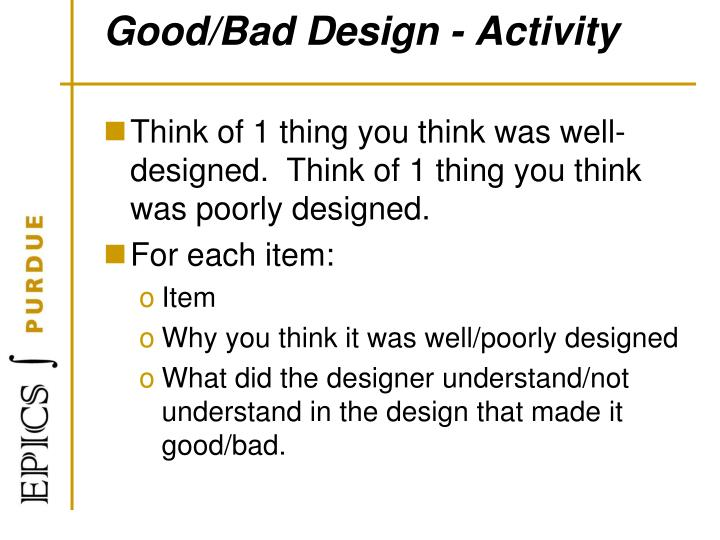 Good/Bad Design - Activity