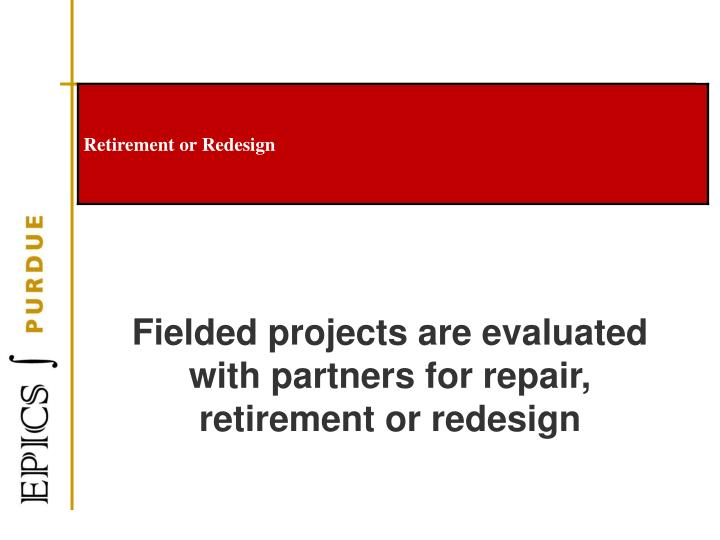 Fielded projects are evaluated with partners for repair, retirement or redesign