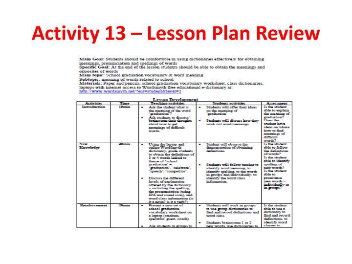 Activity 13 – Lesson Plan Review