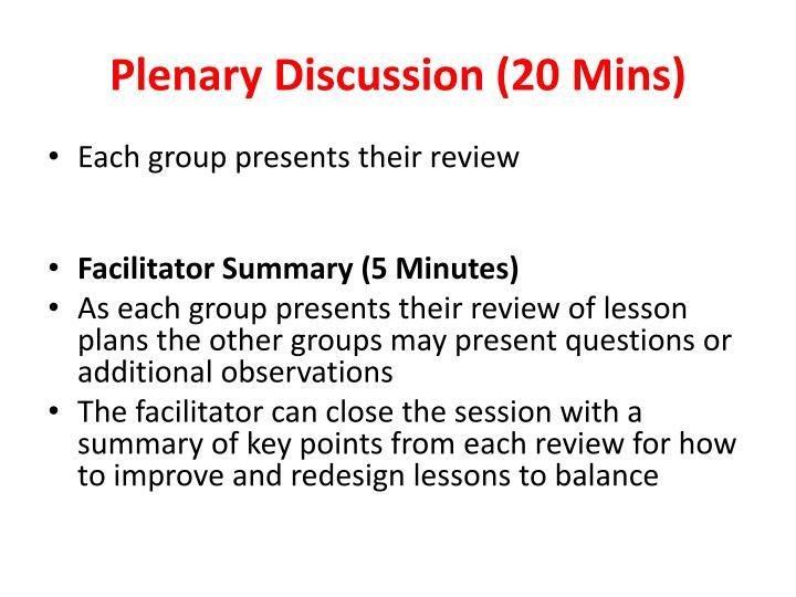 Plenary Discussion (20