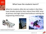 what have the students learnt
