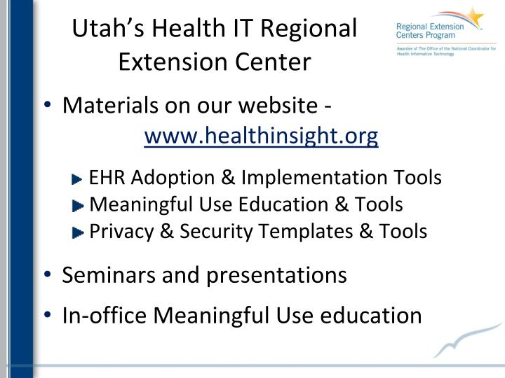 Utah's Health IT Regional Extension Center