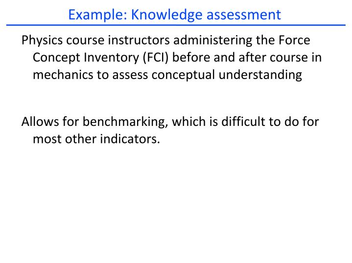 Example: Knowledge assessment