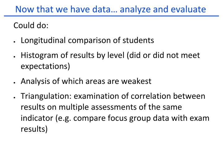 Now that we have data… analyze and evaluate