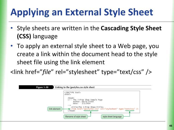 Applying an External Style Sheet