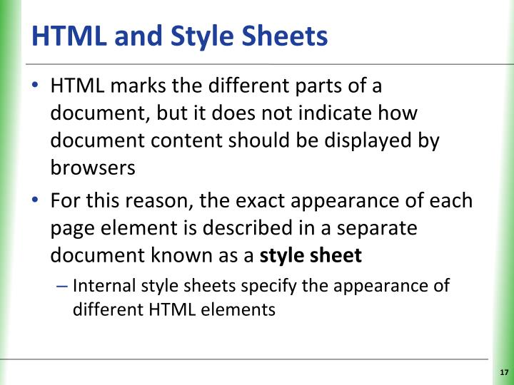 HTML and Style Sheets