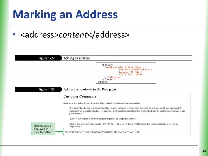 Marking an Address