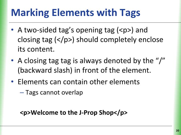 Marking Elements with Tags
