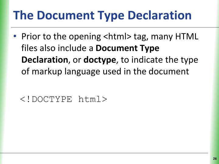 The Document Type Declaration