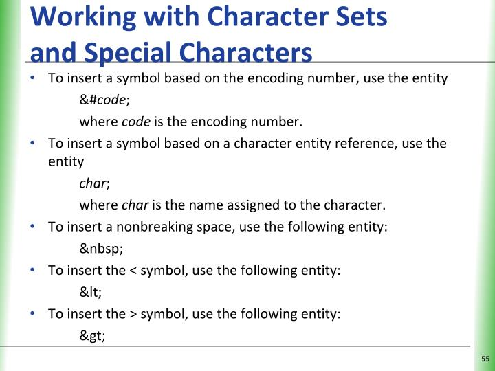 Working with Character Sets