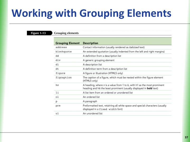 Working with Grouping Elements