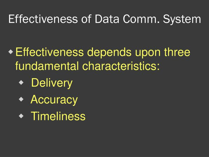 Effectiveness of Data Comm. System