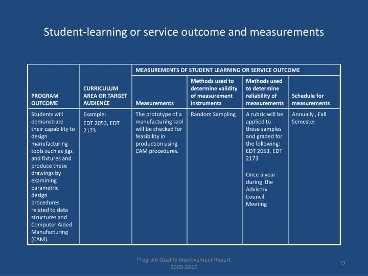Student-learning or service outcome and measurements