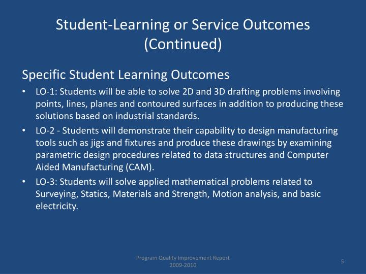 Student-Learning or Service Outcomes