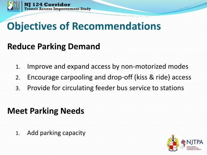 Objectives of Recommendations