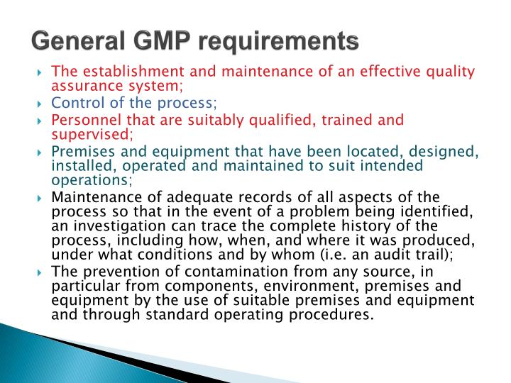 General GMP requirements