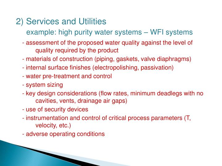 2) Services and Utilities