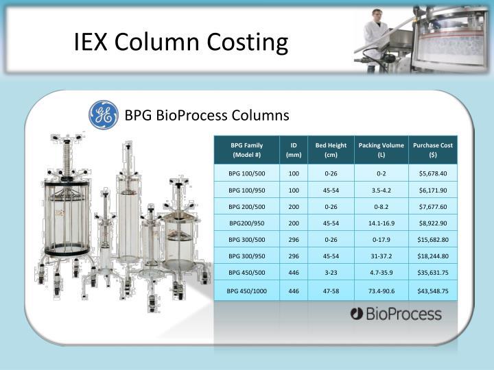 IEX Column Costing