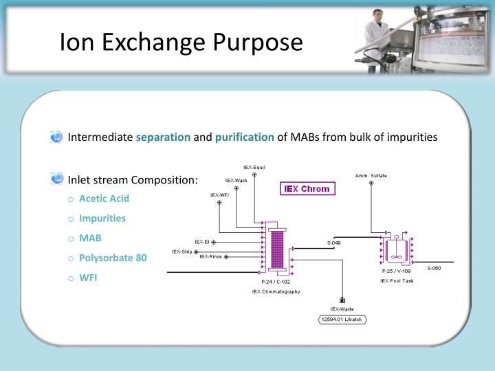 Ion Exchange Purpose