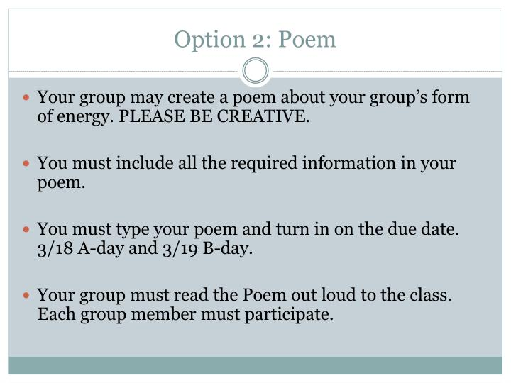 Option 2: Poem