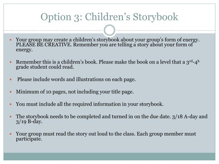 Option 3: Children's Storybook