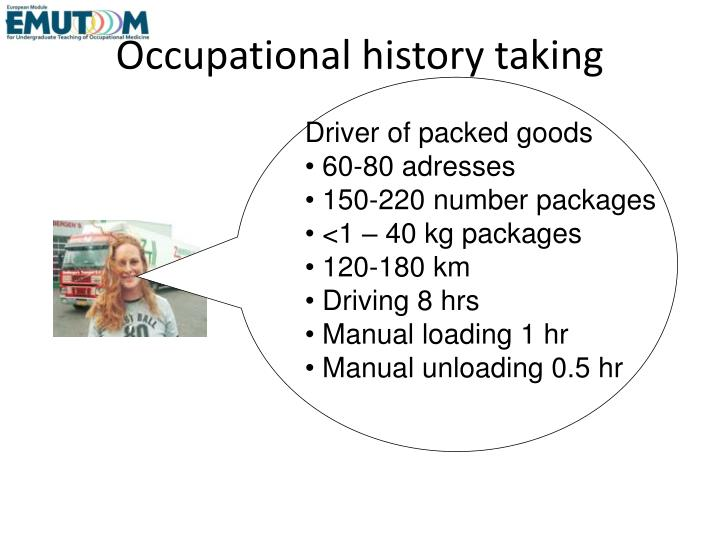 Occupational history taking