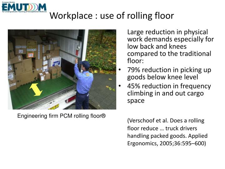 Workplace : use of rolling floor