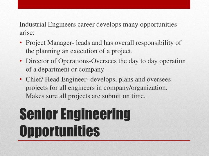 Industrial Engineers career develops many opportunities arise: