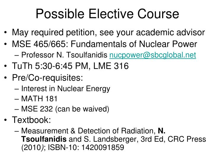 Possible elective course