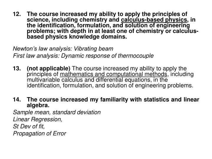 The course increased my ability to apply the principles of science, including chemistry and