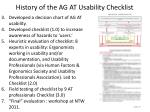 history of the ag at usability checklist1