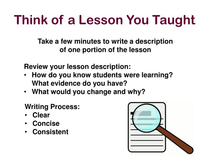 Think of a Lesson You Taught