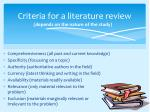 criteria for a literature review