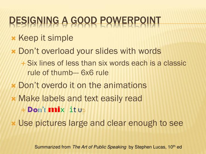 Designing a good powerpoint