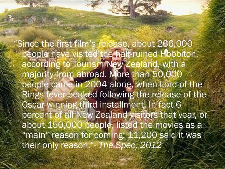 """""""Since the first film's release, about 266,000 people have visited the half-ruined"""