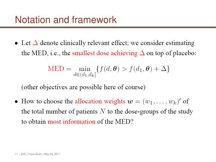 Notation and framework