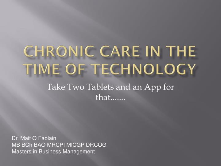 chronic care in the time of technology n.