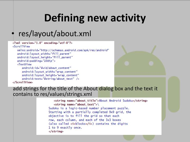 Defining new activity