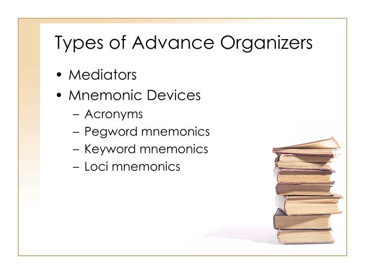 Types of Advance Organizers