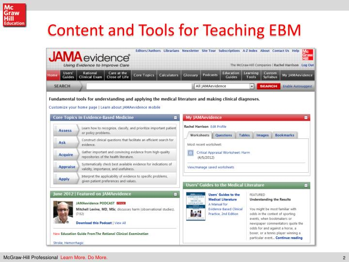 Content and Tools for Teaching EBM