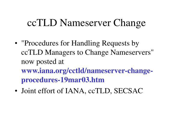 ccTLD Nameserver Change